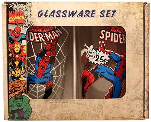 Silver Buffalo MC031P15 Marvel Spiderman Boxed Pint Glasses ( 2-Piece Set), 16 oz. Each, Gray