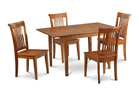 East West Furniture PSPO5-SBR-W 5-Piece Kitchen Table Set