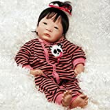 Paradise Galleries Asian Baby Doll, Panda Twin Girl, 17 inch Vinyl with Weighted Body