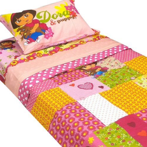 Dora-Explorer-Puppy-Patchwork-5pc-Full-Bedding-Set