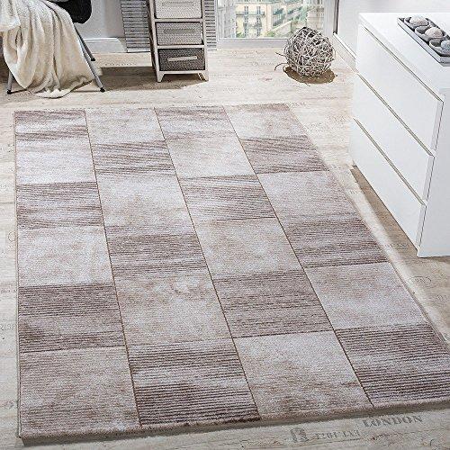 ... Teppich Modern Wohnzimmer Teppiche Kurzflor Karo Meliert Braun Beige