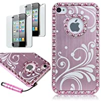 Deluxe Baby Pink Chrome Bling Crystal Rhinestone Hard Case Skin Cover for Apple iPhone 4 4S 4G With Free 2pcs Screen Protector and Pink Stylus by Pandamimi