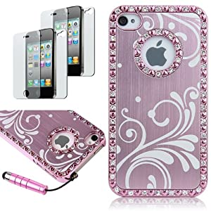 Pandamimi Deluxe Baby Pink Chrome Bling Crystal Rhinestone Hard Case Skin Cover for Apple iPhone 4 4S 4G With Free 2pcs Screen Protector and Pink Stylus