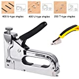 Heavy Duty Staple Gun Kit 3 in 1 with Remover, Hand Operated Stainless Steel Stapler, Brad Nailer Gun, Tacker Tool for Upholstery,Fixing Material Decoration Carpentry Furniture 1000 Staples Attached
