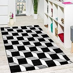 Wohnzimmer Teppich Geo Design Würfel Muster Grau Creme Ausverkauf, Grösse:80x150 cm