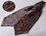 Allbebe Mens Blue Orange Floral 100% Silk Cravat Ties Jacquard Woven Ascot