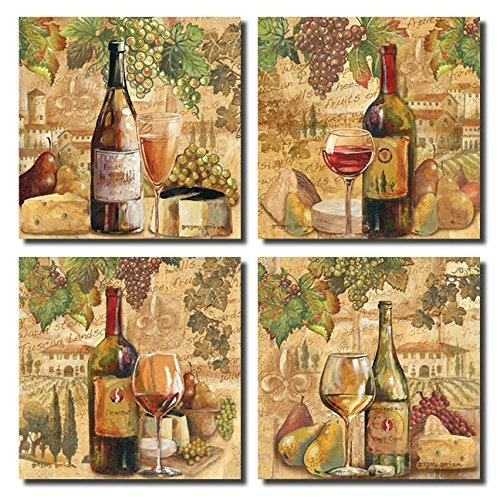Tuscan Harvest; Rustic Italian Wine Cheese Grapes Vineyard; Four 12x12in Poster Prints (Grape Wine Posters compare prices)
