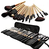 Agm 24 Pcs Professional Natural Cosmetic Synthetic Makeup Brush Set With Storage Roll Up Leather Bag (Brown)