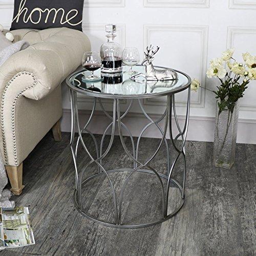 Tavolino grande ornato argento a specchio