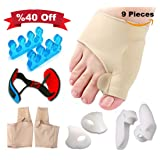 Bunion Corrector and Bunion Relief Kit for Tailors Bunion- Treat Pain in Hallux Valgus, Big Toe Joint, Hammer Toe, Gel Toe Separator Spacers Straighte