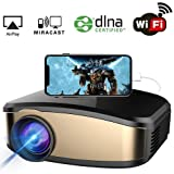 WiFi Projector, iBosi Cheng Portable Mini LCD Video Projector Full HD 1080P LED Home Theater Projector with HDMI/ USB/ VGA/ AV Input for Smartphones PC Laptop Gaming Devices (Color: C6 Black)