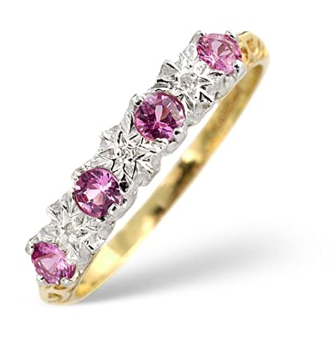 TheDiamondStore | Eternity Ring - Pink Sapphire & Diamond - 9K Gold