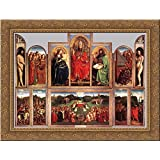 The Ghent Altarpiece (wings open) 24x20 Gold Ornate Wood Framed Canvas Art by Eyck, Jan van