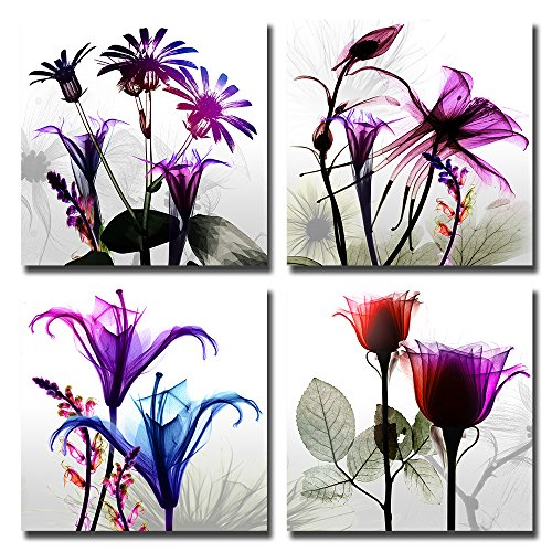 Spirit Up Art 4Pcs/Sets Huge Modern Giclee Prints Artwork Multi Flowers Pictures Photo Paintings Print on Canvas, Wall Art for Home Walls Decor, Stretched and Framed, Ready to Hang, 1212inches (Nature Paintings On Canvas compare prices)