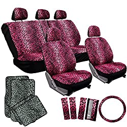 See OxGord 17pc Pink Leopard Seat Cover Set for Car/Truck/Van/SUV, Gray Seats w/ Gray Mats Details