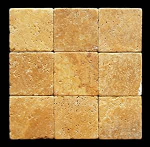 gold yellow 4x4 tumbled travertine tile marble tiles