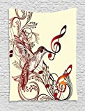 Ambesonne Hummingbirds Decorations Collection, Flying Bird and Music Notes Clef Five Line Staff Musical Creative Image, Bedroom Living Room Dorm Wall Hanging Tapestry, Burgundy Cream