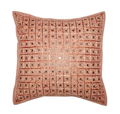 Marvellous Home Decor Art Rajrang Mirror & Embroidery Work Brown Color Cotton Cushion Cover/ Throw Pillow Cover Comforter Sets India (Size 16x16)