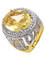 15.30 Grams Yellow Glass & White Cubic Zirconia Gold Plated Brass Ring