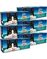 Felix Terrines pour chat adulte Viandes & Poissons 4 x 100 g - Lot de 6 (24 sachets fraîcheurs)