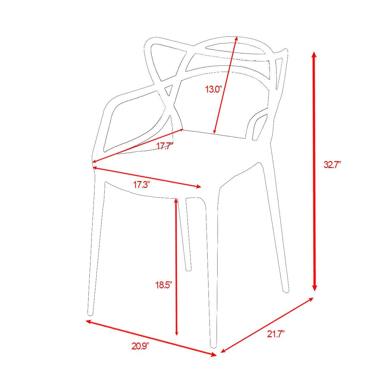Giantex Set of 6 Dining Chairs Masters Modern Design Armchair Indoor Outdoor Stackable (Green)