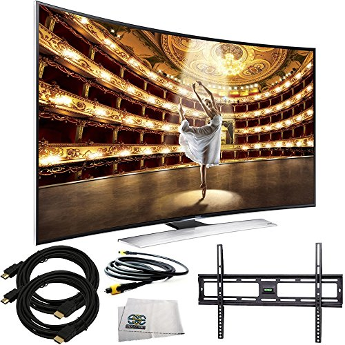 Samsung UN55HU9000 Curved 55-Inch 4K Ultra HD 120Hz 3D Smart LED TV + Ultra-Slim Flat Mount + Two 12 Feet HDMI Cables + 12 Feet Digital Optical Audio Toslink Cable & Microfiber Cleaning Cloth