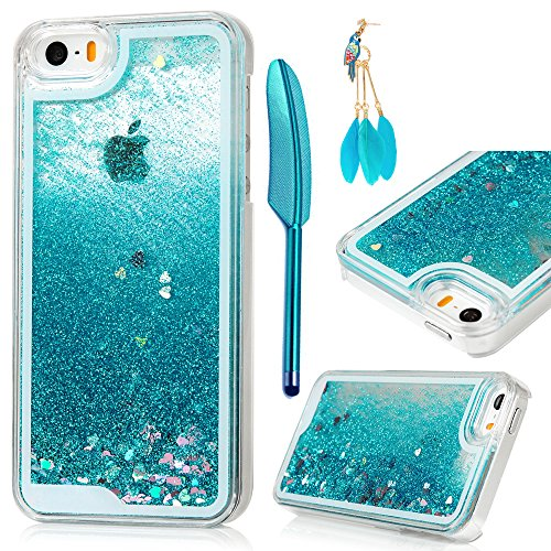 iPhone-SE-CaseiPhone-55S-Case-MOLLYCOOCLE-Transparent-Clear-PC-Hard-Plastic-Shell-3D-Bling-Sparkle-Glitter-Quicksand-and-Cute-Star-Flowing-Liquid-Cover-for-iPhone-SE55S-Gold