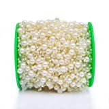 Grace Florist 98 Feet Fishing Line Artificial Pearls Beads garland Chain for Flower Garland Wedding Decoration & DIY Bridal Bouquet(8+3mm) (ivory) (Color: ivory)