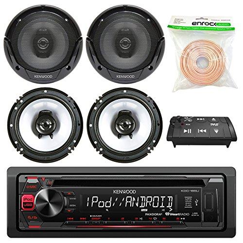 Kenwood KDC-165U In Dash Car Audio AM/FM Pandora iHeart Radio Receiver - 4 x Kenwood KFC-1665S 6.5