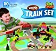 Deluxe 50 Pc. Wooden Train Set Compatible with Thomas & Brio