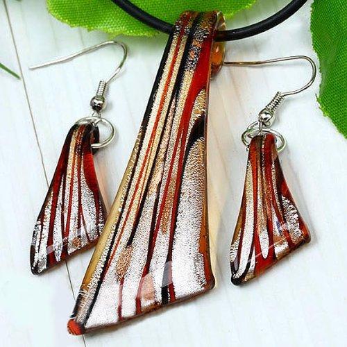 Light Red Handmade Art Silver Glass Jewelry Set Necklace Pendant Eardrop By Chonlyshop