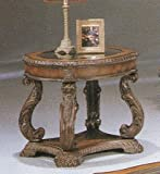 Hand Carved Leaf Antique Wood End Table with Round Glass Top
