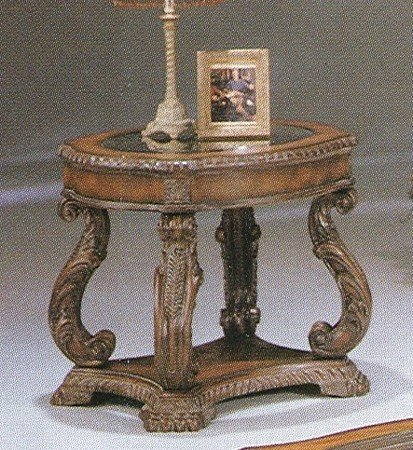 Cheap Hand Carved Leaf Antique Wood End Table with Round Glass Top (B0009JI78E)