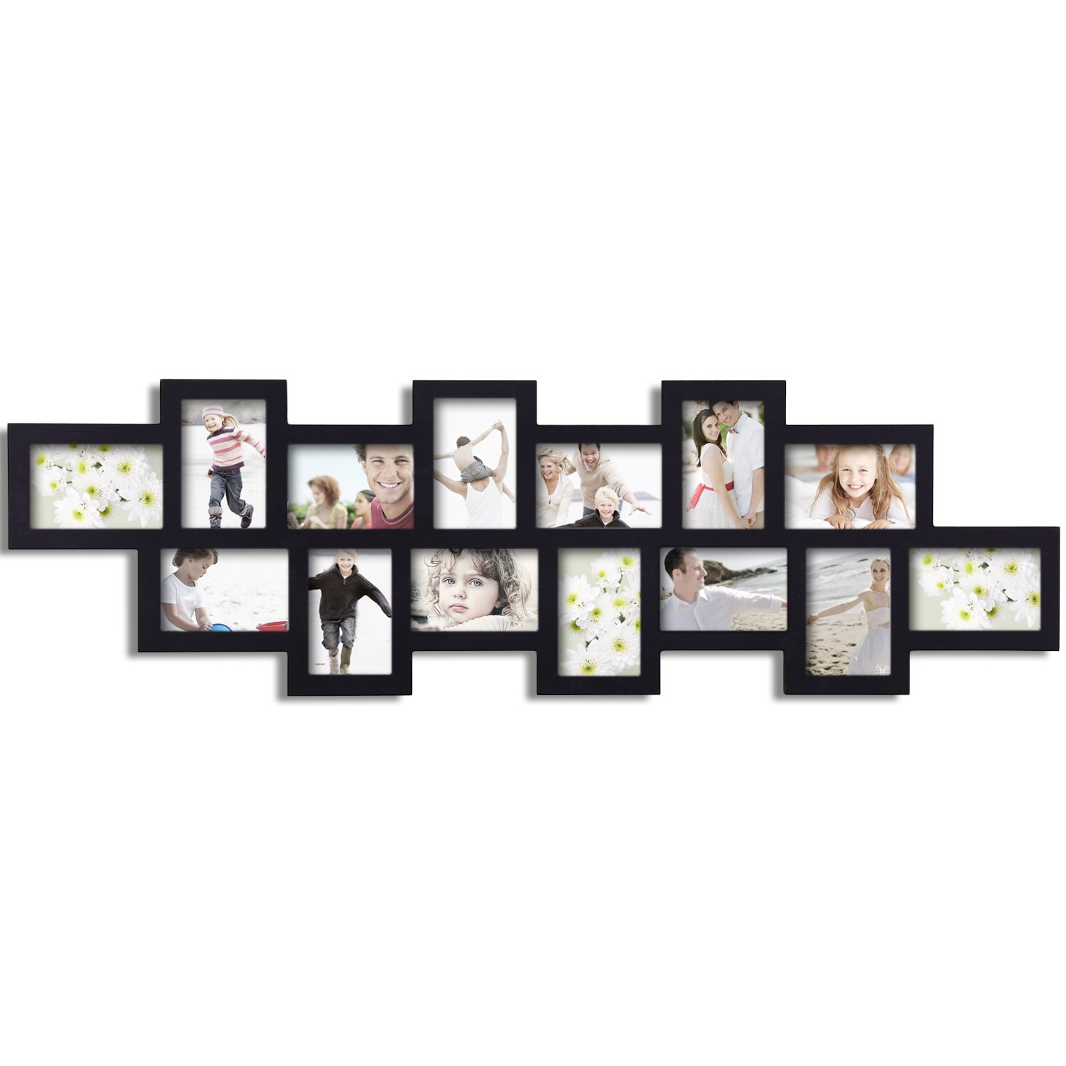 adeco 14 opening 4x6 black wood wall collage picture. Black Bedroom Furniture Sets. Home Design Ideas