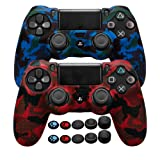 COOCODE PS4 Controller Skin Grip Anti-Slip Silicone Cover Protector Case for Sony PS4/PS4 Slim/PS4 Pro Controller with 10 Thumb Grips (Red Camo+Blue Camo) (Color: Red Camo+Blue Camo)