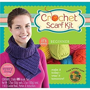 Lion Brand Crochet Scarf Kit