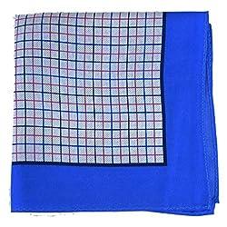 PS-A-265 - Blue - Silver - Pink - Black Italian Design Silk Pocket Square