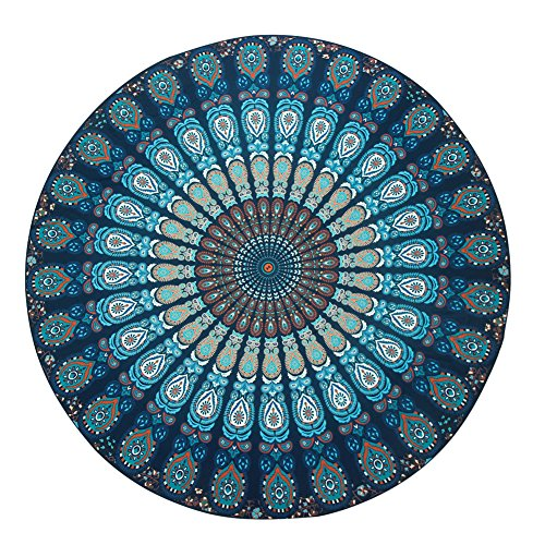 YITL Hippie Mandala Tapestry Round Roundie Wall Hanging Beach Towel Throw Yoga Mat Round Tapestry 14 Style 58x58
