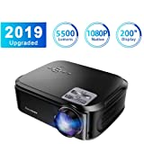 Projector 5500 Lumen 1080P Native 24W LED Bulb 20000 Hours/AV\VGA\USB\HDMI\YPbPr Projector HD Resolution 19201080 HD Display for Home Travel Compatible with TV Box PC Mobile Phone (Color: Black)