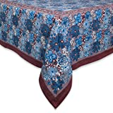 Couleur Nature 71-inches by 128-inches Candy Flower Tablecloth, Brown/Blue