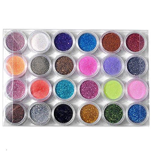 Ayliss® 24 Lot Poudre Scintillante Colorée Paillette Brillante pour Décoration d'Ongles