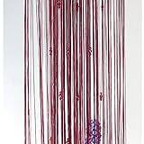 Hioffer(ハイオフア) サンキャッチャー 八角形 すだれ ひものれん キラキラ光る ストリングカーテ 透明なカーテン コードスクリーン ラインカーテン 1枚 全7色 幅100x丈200cm ワインレッド