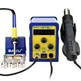 BAKU BK-878L2 110V 2 in 1 Dual LED Digital Displays SMD Soldering Rework Station, Hot Air Rework Station with Gun Solder Iron (BK-878L2) (Color: Yellow and Blue)