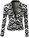 SJSP Women Plus-size Long Sleeve Aztec Print Scuba Fabric Blazer