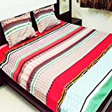 Sarang Dispatch Colorful liner Designer 3D printed Queen Bedshhets With TWO pillow
