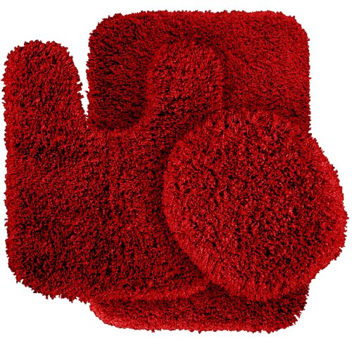 garland rug 3 piece serendipity shaggy washable nylon bathroom rug set chili pepper red. Black Bedroom Furniture Sets. Home Design Ideas