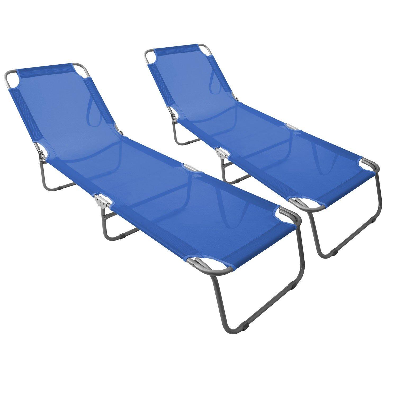 2 Stück Klappliege mit verstellbarer Rückenlehne 198x58cm komfortable Textilenbespannung in Blau Campingliege Sonnenliege Gartenliege / 1B-Ware günstig online kaufen