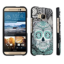 DuroCase ® HTC One M9 (Released in 2015) Hard Case Black - (Day of the Dead Skull)