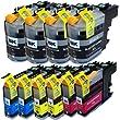 10 XXL Druckerpatronen / Druckertinte kompatibel zu Brother LC-121 LC-123 LC123 LC-127 LC-125 mit F�llstandsanzeige & Chip