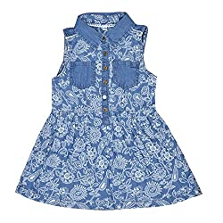 CoffeeBean Kids Girls Floral printed Denim Dress(7-8 Years)